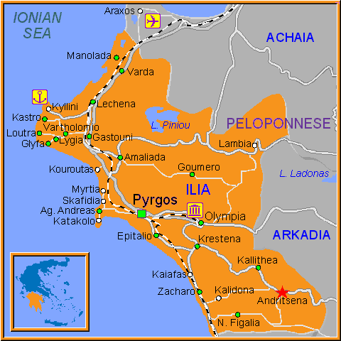 Travel Greece Map of Andritsena