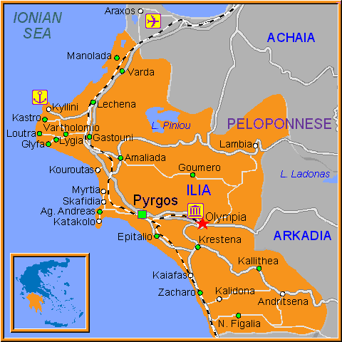 Travel Greece Map of Olympia