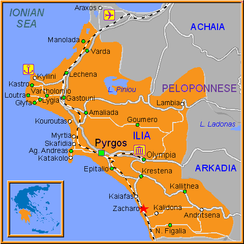 Travel Greece Map of Zacharo