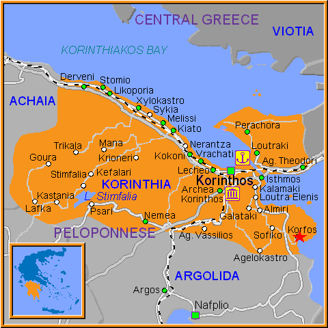 Travel Greece Map of Korfos