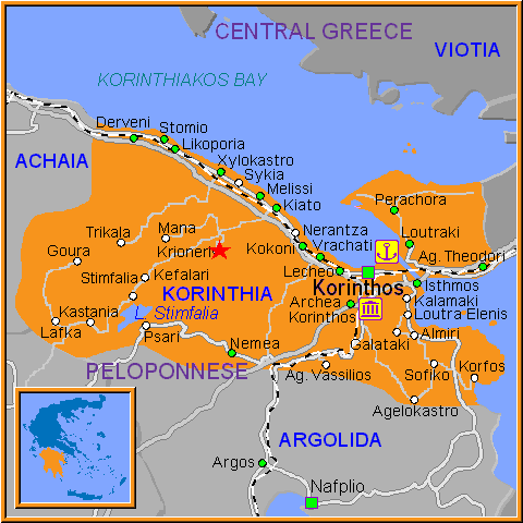 Travel Greece Map of Krioneri