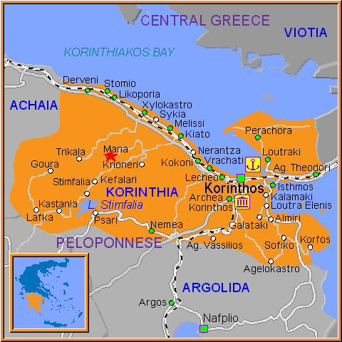 Travel Greece Map of Mana