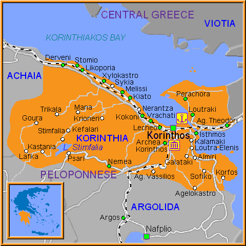 Travel Greece Map of Korinthia