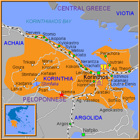 Travel Greece Map of Nemea