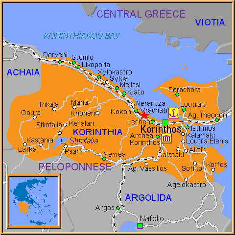 Travel Greece Map of Vrachati