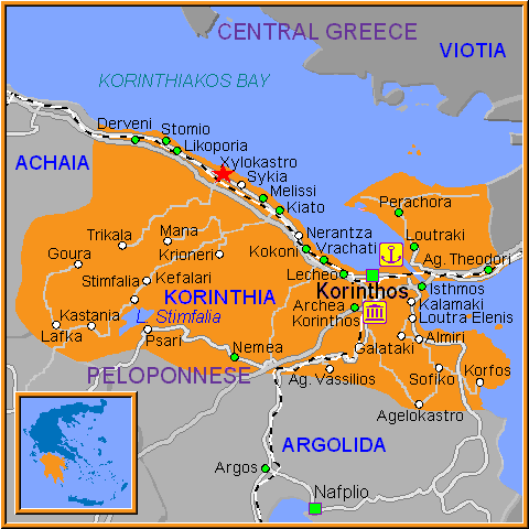 Travel Greece Map of Xylokastro