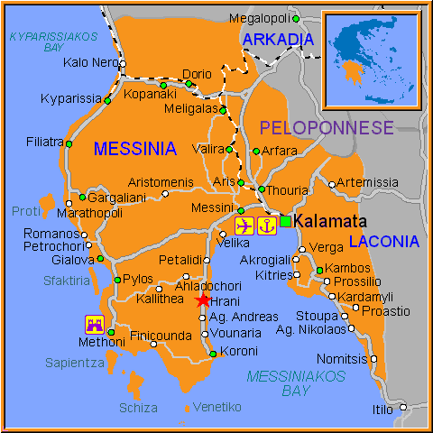 Travel Greece Map of Hrani