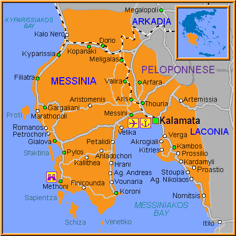 Travel Greece Map of Messinia