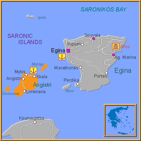 Travel Greece Map of Angistri