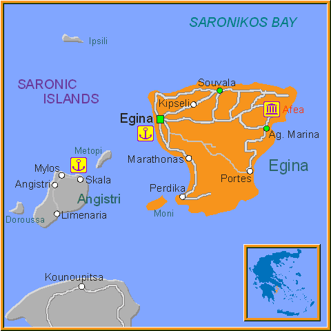 Travel Greece Map of Aegina