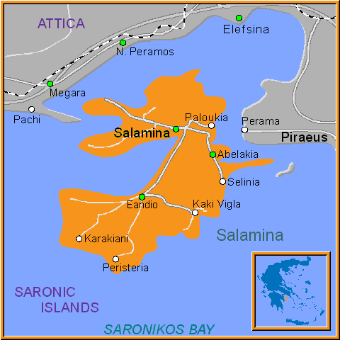 Travel Greece Map of Salamina