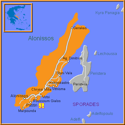 Travel Greece Map of Alonissos