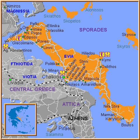Travel Greece Map of Sporades and Evia