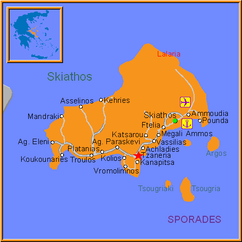 Travel Greece Map of Tzaneria