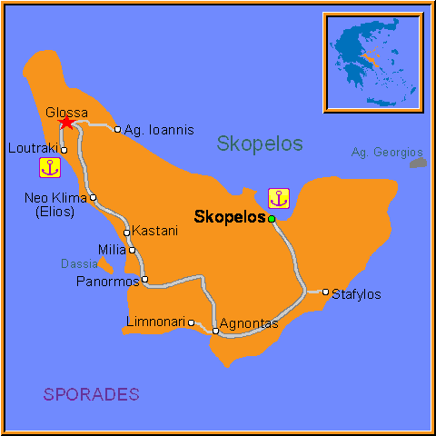 Travel Greece Map of Glossa