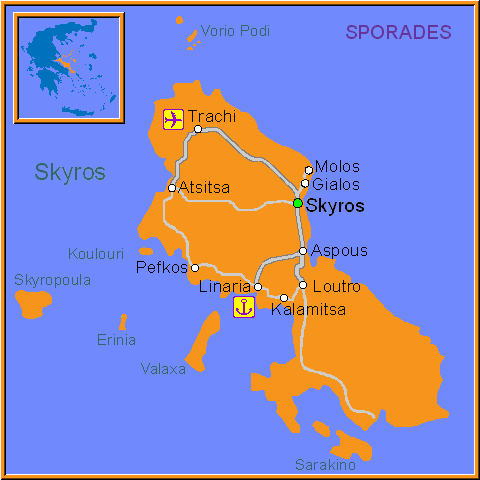Travel Greece Map of Skyros